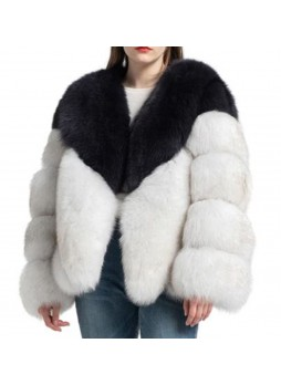 Fox Fur Jacket  Coat Bolero Black & White Norwegian Blue Women's