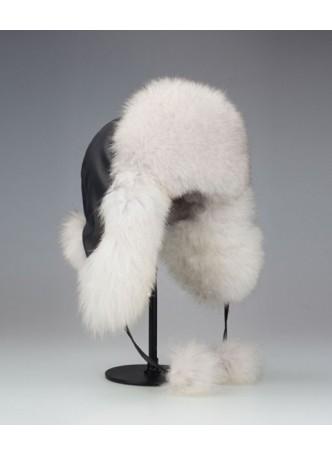 Fox Fur Natural Norwegian Blue Hat w/ Black Leather Aviator Trooper Men's Women's UNISEX