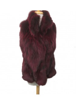 Silver Fox Fur Vest Burgundy Women's