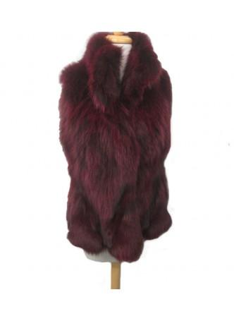 Silver Fox Fur Vest Burgundy Women's