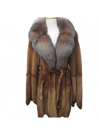 Mink Sheared Fur Golden with Crystal Fox Fur Collar Women's