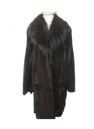 Mink Sheared Fur Jacket Coat with Fox Fur Collar Women's