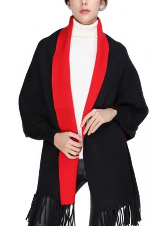 Wool Blend Shawl Cape Wrap with Sleeves Black Red Women's