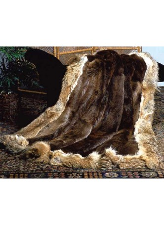 Beaver & Coyote Fur Plate Throw Blanket Bedspread Rug Home Decor