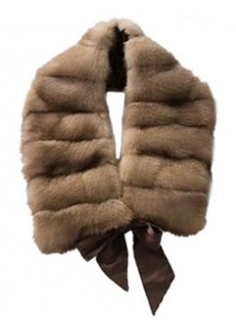 Russian Sable Fur Pastel Brown Scarf Collar Women's