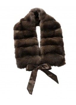 Russian Sable Fur Brown Scarf Collar Women's