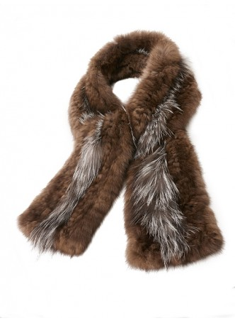 Knitted Sable & Silver Fox Fur Scarf Women's