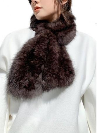 Knitted Sable Fur Scarf Dark Brown Women's