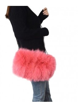 Fox Fur Bag Purse Shoulder Bag Cross-Body Hand Muff Warmer Women's Coral Pink