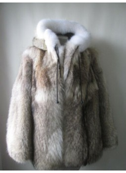 Men's Coyote & Fox Fur Coat Bomber Jacket with Hood