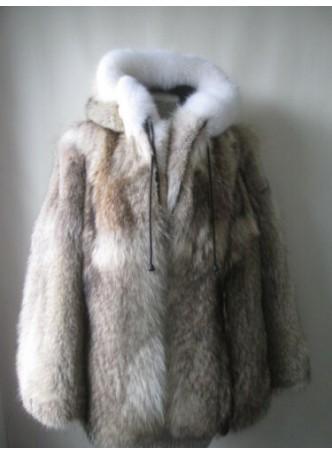 Men's Coyote & Fox Fur Coat Bomber Jacket with Hood
