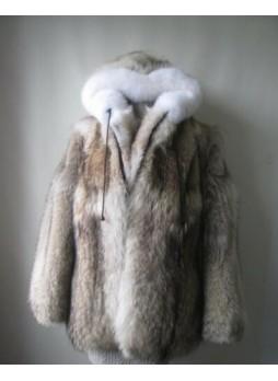 Coyote & Fox Fur Coat Bomber Jacket with Hood Men's