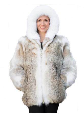 Coyote & Fox Fur Coat Bomber Jacket with Hood  Women's