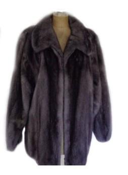 Men's Mink Fur Bomber Jacket Coat Sapphire