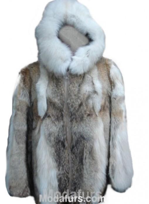 b94d4d87a4b Men s Coyote   Fox Fur Coat Bomber Jacket with Hood