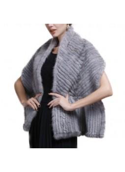 Knitted Mink Fur Shawl Cape Stole Wrap Sapphire Women's