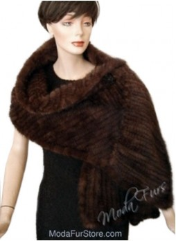 Knitted Mink Fur Shawl Cape Stole Wrap Women's