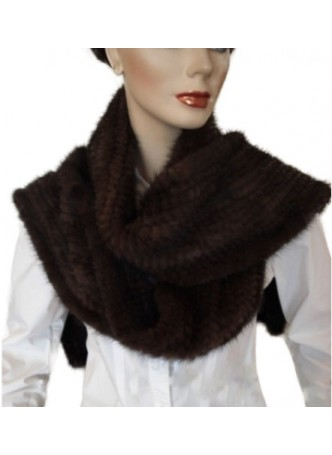 Knitted Mink Fur Scarf Dark Brown Women's