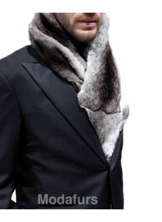 Men's Chinchilla Fur Scarf Collar Man
