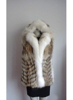 Coyote & Fox Fur Vest with Hood Women's