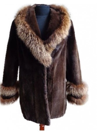 Mink Sheared Fur Coat Jacket w/ Crystal Fox Women's