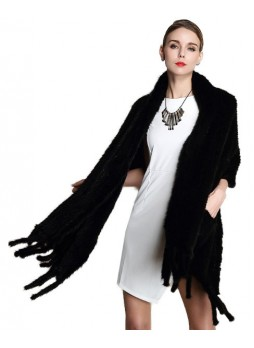 Knitted Mink Fur Black Shawl Cape Stole Wrap with Pockets Women's