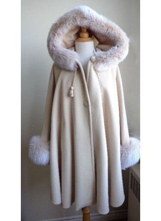 Alpaca Wool w/ Shadow Fox Fur Wrap Cape Poncho  w/ Hood & Sleeves Beige Women's