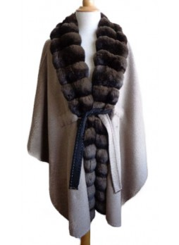 Cashmere 100%  &  Chinchilla Fur Wrap Cape Shawl Beige Women's