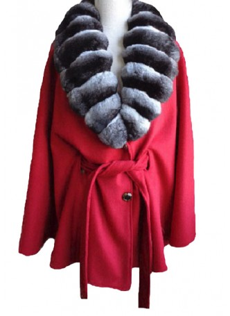 Cashmere 100%  &  Chinchilla Fur Wrap Cape Shawl Red Women's