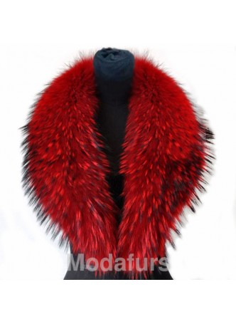 Raccoon Finn Fur Collar Red