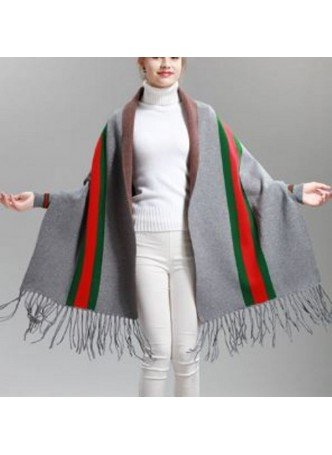 Wool Blend Shawl Cape Wrap with Sleeves Gray Grey Green Red Women's