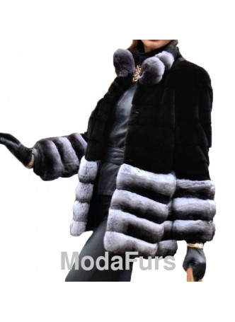 Mink Sheared Fur Coat w/ Chinchilla Fur Women's