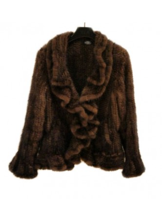 Knitted Mink Fur Jacket Coat Women's