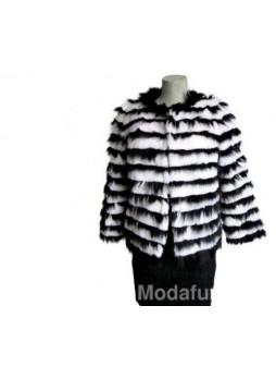 Fox Fur Black & White Rex Rabbit Fur Jacket Coat Women's