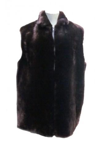 Men's Bon Mouton Fur Vest Brown Lamb Man