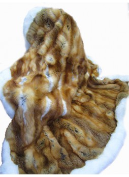 Fox Fur Natural Red & White Plate Throw Blanket Bedspread Rug Home Decor