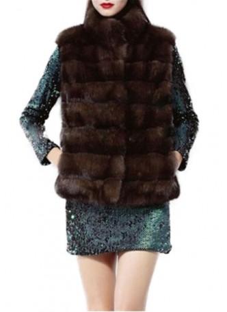 Mink Fur Vest  Women's Natural Dark Ranch