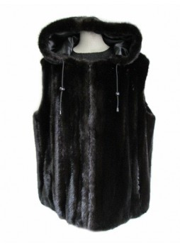 Men's Mink Fur Vest with Hood Dark Ranch