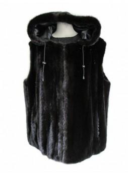 Mink Fur Vest with Hood Dark Ranch Men's