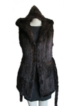Knitted Mink Fur Vest  w/ Hood & Belt  Women's