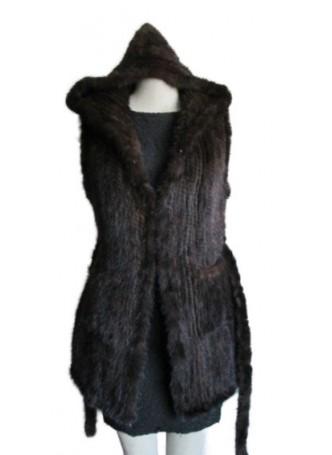 Knitted Mink Fur Vest  w/ Hood & Belt  Women's