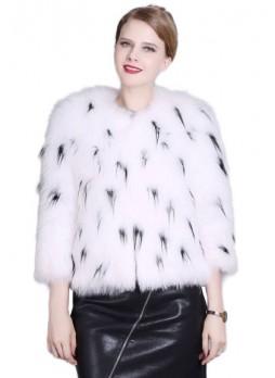 Fox Fur Black & White Jacket Coat Bolero Women's