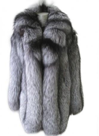 Silver Fox Fur Jacket Coat Women's