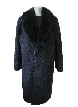 Men's Persian Lamb Fur Coat Jacket with Mink Fur Collar Black  XL