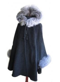 Alpaca Wool w/ Silver Fox Fur Wrap Cape  Poncho w/ Hood & Sleeves, Black, Women's