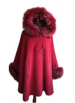 Alpaca Wool w/ Silver Fox Fur Wrap Cape Poncho w/ Hood & Sleeves Red Women's