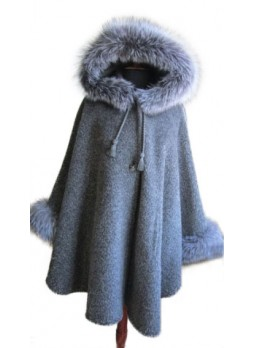 Alpaca Wool w/ Fox Fur Wrap Cape Poncho w/ Hood & Sleeves Gray Grey Women's