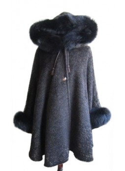 Alpaca Wool w/ Fox Fur Wrap Cape Poncho w/ Hood & Sleeves Brown Women's