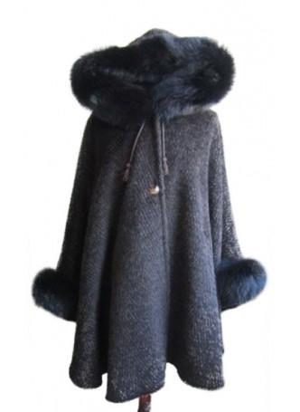 Alpaca Wool w/ Fox Fur Wrap Cape Poncho w/ Hood & Sleeves Brown Women's