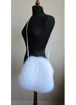 Fox Fur White Bag Purse Shoulder Bag Cross-Body Hand Muff Warmer Women's